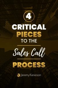 Tall buildings downtown with the words 4 Critical Pieces to the Sales Call Process in the middle