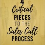 Men in office with gold overlay with the words 4 Critical Pieces to the Sales Call Process in the middle.