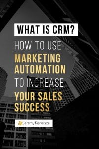 Downtown skyline with What is CRM and How to Use Marketing Automation to Increase Your Sales Success in the middle.