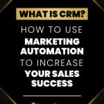 Black background with gold trim with What is CRM and How to Use Marketing Automation to Increase Your Sales Success in the middle.