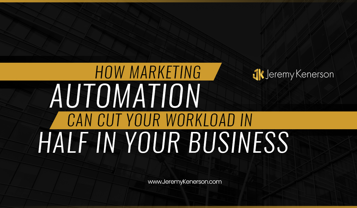 Buildings on black background with How Marketing Automation Can Cut Your Workload in Half In Your Business in the middle.