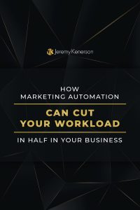 Black background with How Marketing Automation Can Cut Your Workload in Half In Your Business in the middle.